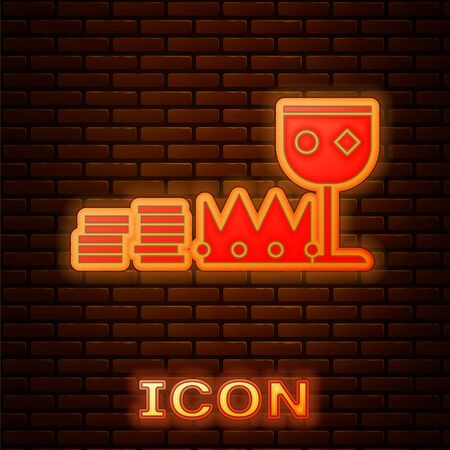 Glowing neon Treasure and riches icon isolated on brick wall background. Treasure, gold, coins, jewels, crown, gold cup. Vector Illustration