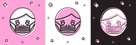 Set Man face in a medical protective mask icon isolated on pink and white, black background. Quarantine. Vector Illustration