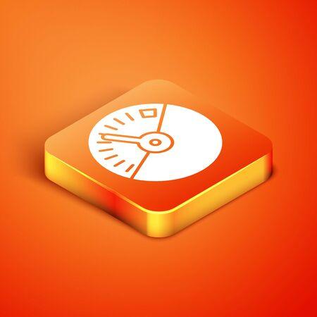 Isometric Speedometer icon isolated on orange background. Vector Illustration