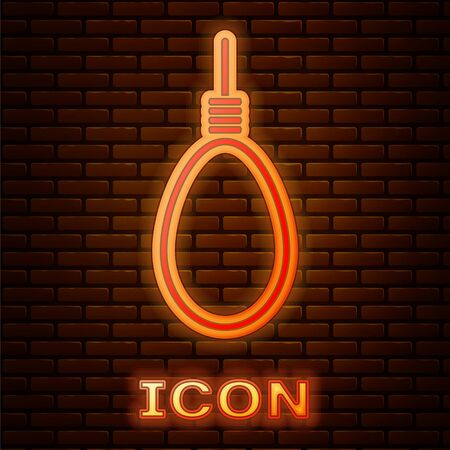 Glowing neon Gallows rope loop hanging icon isolated on brick wall background. Rope tied into noose. Suicide, hanging or lynching. Vector Illustration