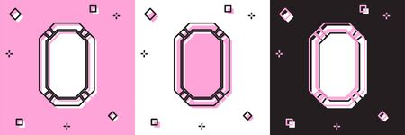 Set Poker table icon isolated on pink and white, black background. Vector Illustration