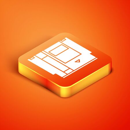Isometric Cartridge for retro game console icon isolated on orange background. TV Game cartridge. Vector Illustration Illustration