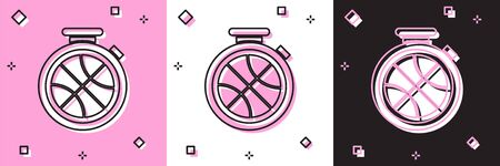 Set Stopwatch with basketball ball inside icon isolated on pink and white, black background. Basketball time. Sport and training. Vector Illustration