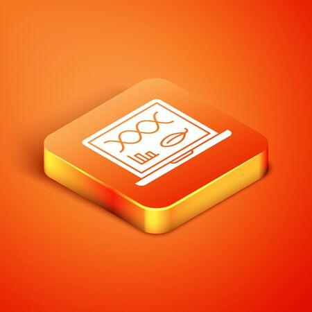 Isometric Genetic engineering modification on laptop icon isolated on orange background. DNA analysis, genetics testing, cloning. Vector Illustration Illusztráció