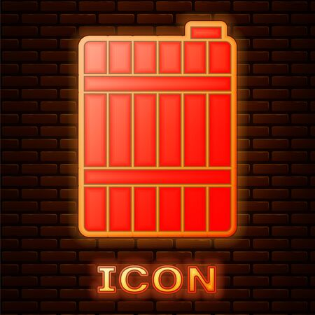 Glowing neon Wooden barrel icon isolated on brick wall background. Alcohol barrel, drink container, wooden keg for beer, whiskey, wine. Vector Illustration