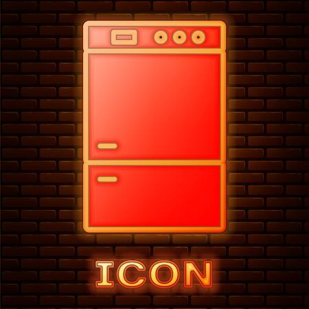 Glowing neon Refrigerator icon isolated on brick wall background. Fridge freezer refrigerator. Household tech and appliances. Vector Illustration Ilustração