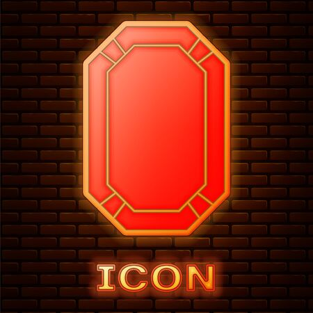 Glowing neon Poker table icon isolated on brick wall background. Vector Illustration