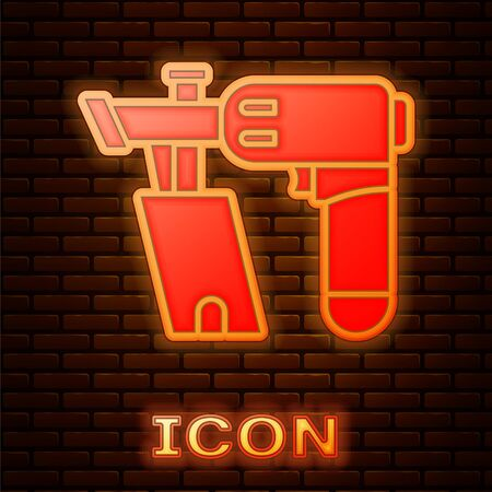 Glowing neon Nail gun icon isolated on brick wall background. Vector Illustration