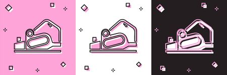 Set Electric planer tool icon isolated on pink and white, black background. Vector Illustration Иллюстрация