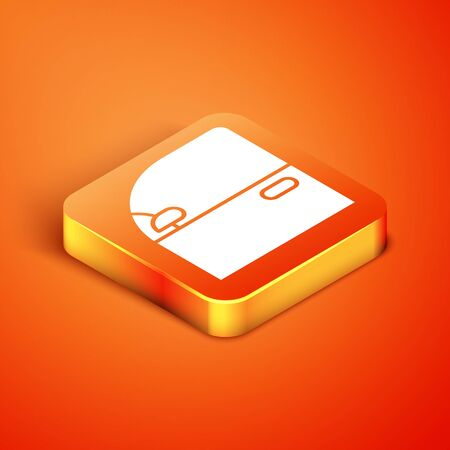 Isometric Car door icon isolated on orange background. Vector Illustration Vettoriali