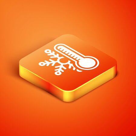 Isometric Thermometer with snowflake icon isolated on orange background. Vector Illustration