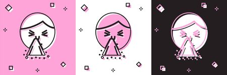 Set Man holding handkerchief or napkin to his runny nose icon isolated on pink and white, black background. Coryza desease symptoms. Vector Illustration