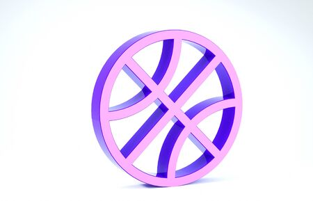 Purple Basketball ball icon isolated on white background. Sport symbol. 3d illustration 3D render