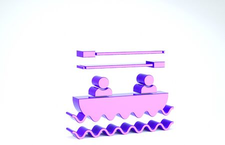 Purple Boat with oars and people icon isolated on white background. Water sports, extreme sports, holiday, vacation, team building. 3d illustration 3D render Banco de Imagens