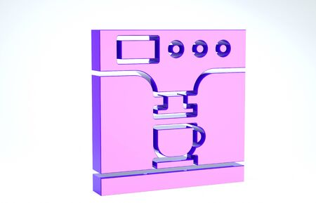 Purple Coffee machine and coffee cup icon isolated on white background. 3d illustration 3D render Banco de Imagens