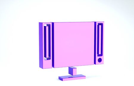 Purple Smart Tv icon isolated on white background. Television sign. 3d illustration 3D render Banco de Imagens