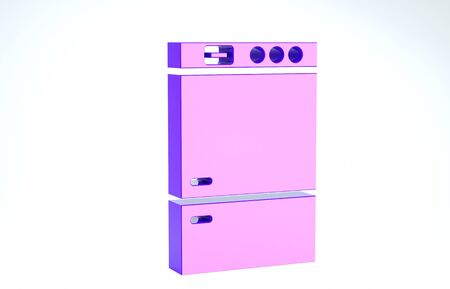 Purple Refrigerator icon isolated on white background. Fridge freezer refrigerator. Household tech and appliances. 3d illustration 3D render