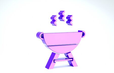 Purple Barbecue grill icon isolated on white background. BBQ grill party. 3d illustration 3D render