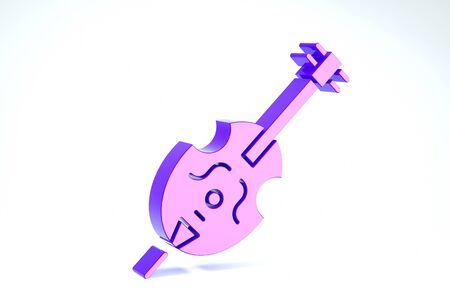 Purple Violin icon isolated on white background. Musical instrument. 3d illustration 3D render Banco de Imagens