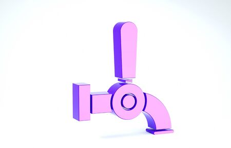 Purple Beer tap icon isolated on white background. 3d illustration 3D render