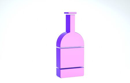 Purple Beer bottle icon isolated on white background. 3d illustration 3D render