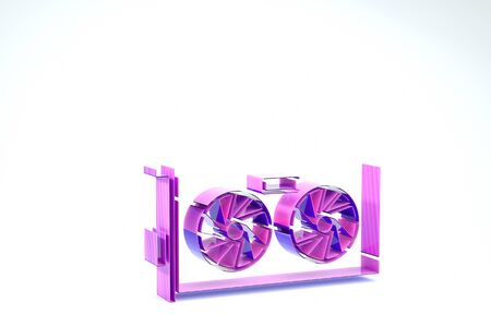 Purple Video graphic card icon isolated on white background. 3d illustration 3D render