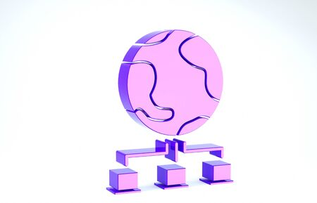 Purple Computer network icon isolated on white background. Online gaming. Laptop network. Internet connection. 3d illustration 3D render