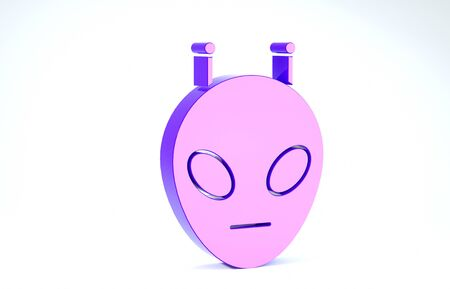 Purple Alien icon isolated on white background. Extraterrestrial alien face or head symbol. 3d illustration 3D render Banco de Imagens