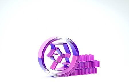 Purple Coin for game icon isolated on white background. 3d illustration 3D render
