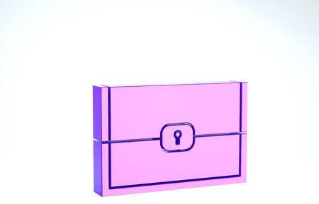 Purple Chest for game icon isolated on white background. 3d illustration 3D render