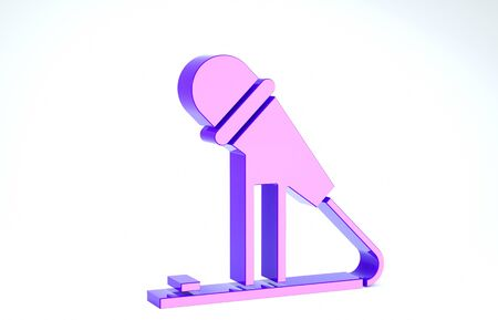 Purple Microphone icon isolated on white background. On air radio mic microphone. Speaker sign. 3d illustration 3D render