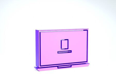 Purple Laptop icon isolated on white background. Computer notebook with empty screen sign. 3d illustration 3D render