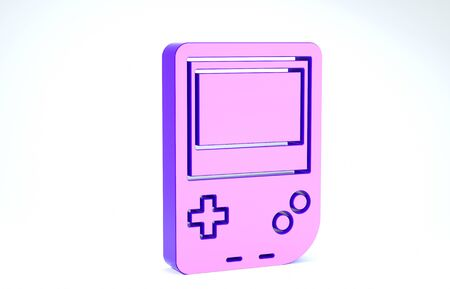 Purple Portable video game console icon isolated on white background. Gamepad sign. Gaming concept. 3d illustration 3D render