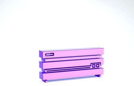 Purple Video game console icon isolated on white background. 3d illustration 3D render Banco de Imagens