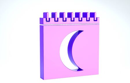 Purple Moon phases calendar icon isolated on white background. 3d illustration 3D render Banco de Imagens