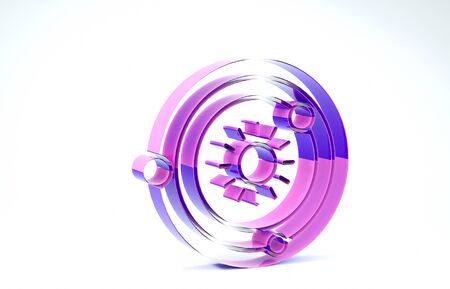 Purple Solar system icon isolated on white background. The planets revolve around the star. 3d illustration 3D render