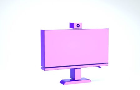 Purple Computer monitor icon isolated on white background. PC component sign. 3d illustration 3D render