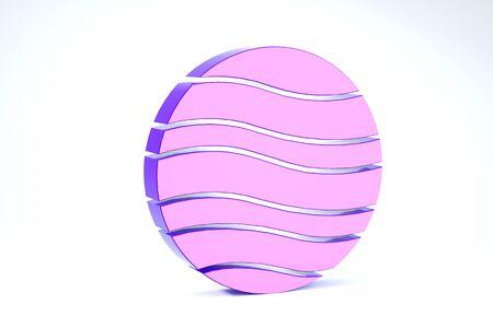 Purple Planet Jupiter icon isolated on white background. 3d illustration 3D render Banco de Imagens