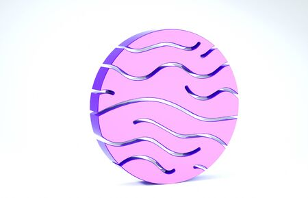 Purple Planet Venus icon isolated on white background. 3d illustration 3D render