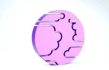 Purple Planet Mercury icon isolated on white background. 3d illustration 3D render Banco de Imagens