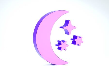 Purple Moon and stars icon isolated on white background. 3d illustration 3D render Banco de Imagens