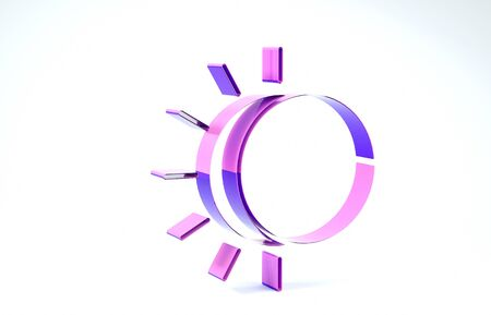 Purple Eclipse of the sun icon isolated on white background. Total sonar eclipse. 3d illustration 3D render Banco de Imagens