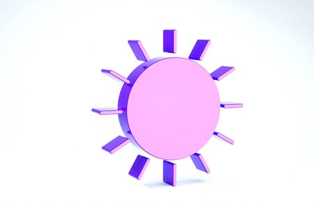 Purple Sun icon isolated on white background. 3d illustration 3D render Banco de Imagens