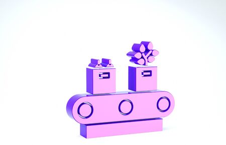 Purple Conveyor belt with cardboard box icon isolated on white background. 3d illustration 3D render Banco de Imagens
