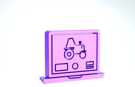 Purple Laptop application for control a autonomous tractor on a smart farm icon isolated on white background. Smart agriculture implement. 3d illustration 3D render