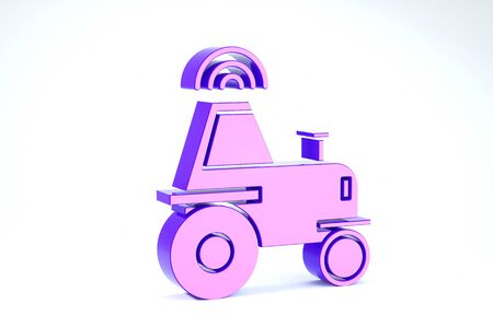 Purple Self driving wireless tractor on a smart farm icon isolated on white background. Smart agriculture implement element. 3d illustration 3D render Banco de Imagens