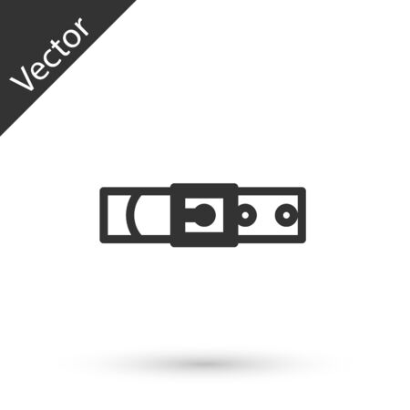 Grey line Leather belt with buttoned steel buckle icon isolated on white background. Vector Illustration