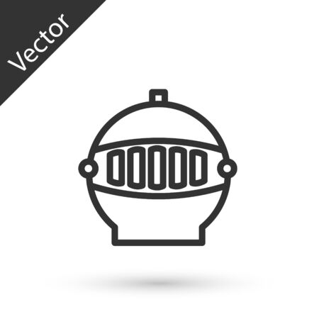 Grey line Medieval iron helmet for head protection icon isolated on white background. Vector Illustration