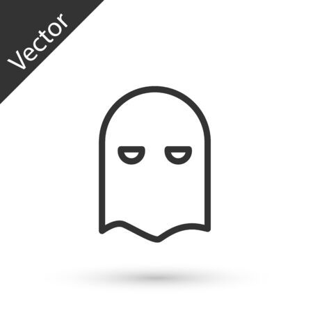 Grey line Executioner mask icon isolated on white background. Hangman, torturer, executor, tormentor, butcher, headsman icon. Vector Illustration