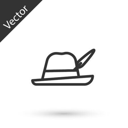 Grey line Oktoberfest hat icon isolated on white background. Hunter hat with feather. German hat.  Vector Illustration Ilustracja